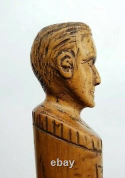 Boer War British Army Dutch POW Hand Carved Walking Stick Male Bust Handle LOOK