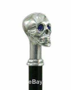 CAVAGNINI Elegant walking stick. Blue eyes skull Ergonomic stick Customizable