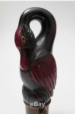 Carved Cherry Amber Bakelite Bird Parasol Umbrella Walking Stick Cane Handle