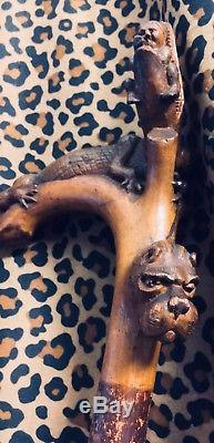 Carved Folk Art Walking Stick Cane Alligator Black Baby In Mouth Black Americana