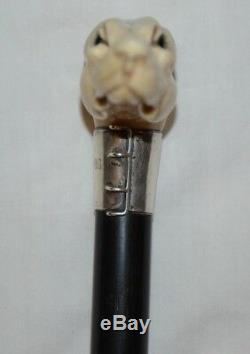 Carved Greyhound Handle Ebony Cane Walking Stick