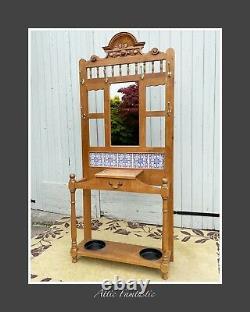 Carved Wood 7' Hall Stand Pot Tiles, Umbrella Walking Stick Coat/Hat Rack Mirror