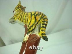 Carved Wood Handcrafted Tiger Cane Walking Stick 21E010