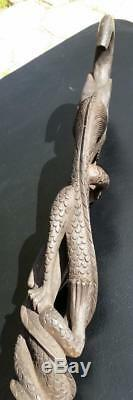 Carved Wood Walking Stick Walking Cane Snake Dragon Ball in Mouth Wise Man