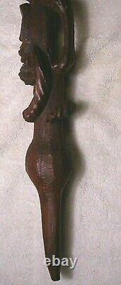 Carved wood African Tribal stacking Face Walking Stick Cane loop handle folk art