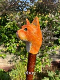Cat Head Hand Carved in Lime Wood Country Walking stick on Hazel Shank