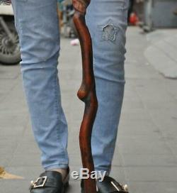 China Boxwood wood carve longevity peach Dragon Crutch Cane Walking stick statue