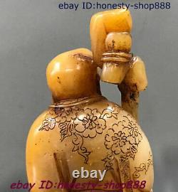 China Rare Shoushan Stone Carving Walking stick arhat Seal Print Chapter Statue