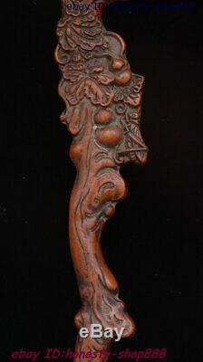 Chinese Dynasty Huang Huali Wood Carving Flower Tree Gourd Walking Stick Statue