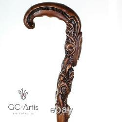 Christian Cross Walking Stick Cane wood Hand carved handle Unique wooden Art