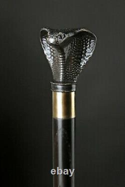 Cobra Walking Stick Cane Dark Wooden Handmade Wood Hand Carved Snake