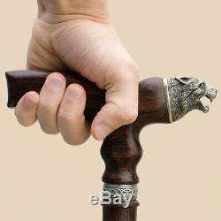 Custom Wolf Walking Cane for Men Wooden Walking Sticks Canes Vintage Hand Carved