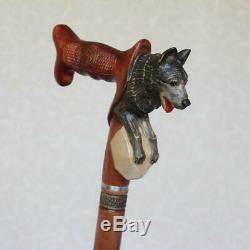 Custom walking cane with American Indian on the top Hand carved handle and shaft