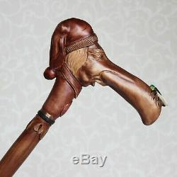 Custom walking stick cane Man in stocking cap with fly on the nose Hand carved
