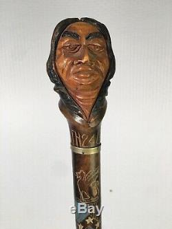 Dartmouth 1924 Mascot Carved Wood Indian Head Walking Stick Griffin Graduation