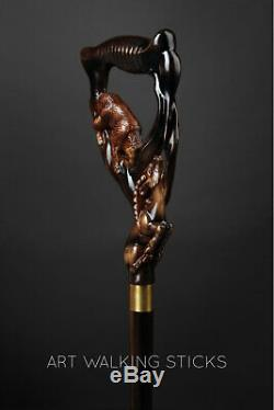 Designer Walking canes Walking Stick Bear & Dear Walking cane Hand Carved