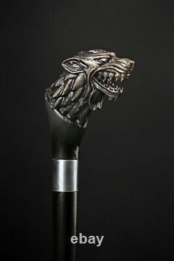 Designer Walking canes Walking Stick Black Wolf Walking cane Hand Carved