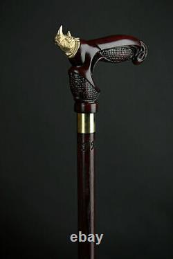 Designer Walking canes Walking Stick Rhinoceros Walking cane Hand Carved