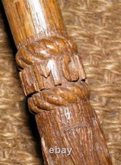Edwardian Hand-Carved Walking Stick/Cane Scottish Thistle- Balmoral Caste 1905