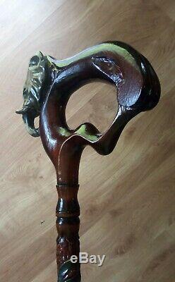 Elephant carved, walking cane, elephant hand made. Wood walking stick elephant