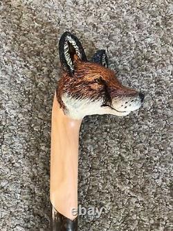 Fabulous Hand Carved Fox headed Hazel Shafted 51 Walking Stick by Ian Taylor
