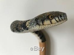 Fabulous Hand Carved Grass Snake Hazel Shafted 51 Walking Stick by Ian Taylor