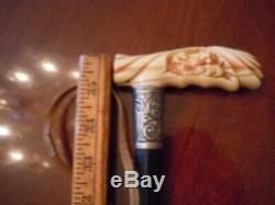 Fantastic, antique carved three bears walking stick, cane, 36 In, THE BEST