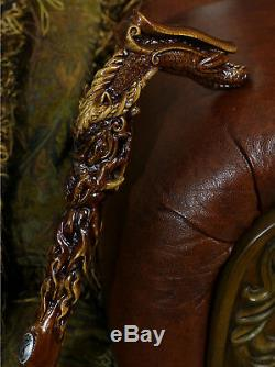 Fantasy Dragon Head Hand Carved Walking Cane Stick Wooden Crafted Handle Mithic