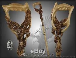Fishing American Eagle Wood Carved Hand Crafted Walking Stick Cane Rich Engrave