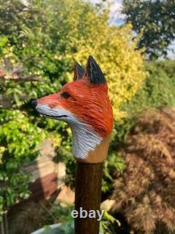 Fox Head Hand Carved in Lime wood Country Walking stick on Hazel Shank
