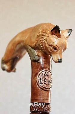 Fox Walking stick cane Hand carved Hiking Handmade Wooden
