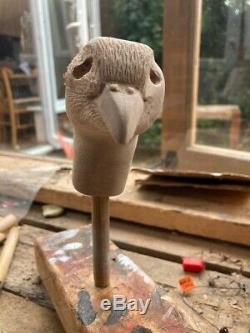 French Partridge Hand Carved in Lime wood Country Walking stick on Hazel Shank