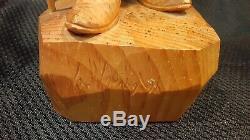 G. Hovington Man withWalking Stick Hand Carved Wood Carving Detailed Canadian Art