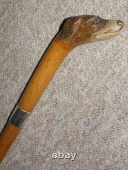 Georgian BRIGG Walking Stick-Czlininsky Hand-Carved Dogs Head & H/M Silver 1929