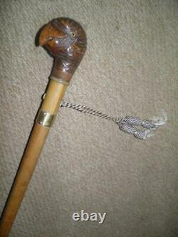 Georgian Walking Stick/Cane -Hand Carved Parrot Head Glass Eyes. By BRIGG