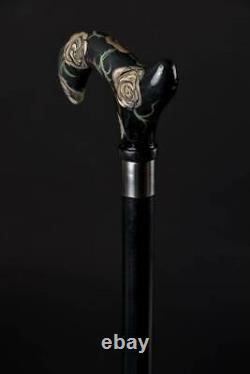 Glamorous Flowered Walking Stick Rose Derby Wooden Cane Handmade Carved