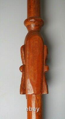 Good Large Vintage Easter Island Carved Wooden Oceanic Moai Walking Stick W Face