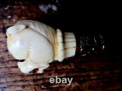 HIGH QUALITY antique walking stick CARVED MASTIFF dog's HEAD CIRCA 1890