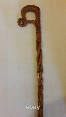 Hand Carved Celtic Design Wooden Walking Stick