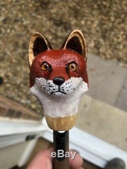 Hand Carved Fox Head Walking Stick