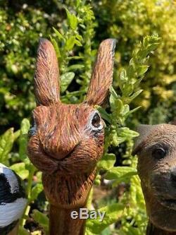 Hand Carved Hare Head Walking stick on Hazel Shank