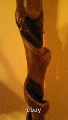 Hand Carved Snake & Mouse & Red Cardinal Wood Walking Stick