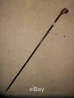 Hand Carved Snarling Dog H. M Silver 1909 Walking Stick. 35.1/2 Brigg London