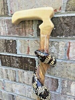Hand Carved wood Snake curling up Walking stick hight 63 inches