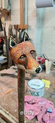 Hand carved Fox walking stick