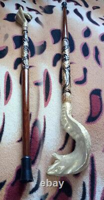 Hand carved walking sticks snake Wood walking cane snake Walking stick snake