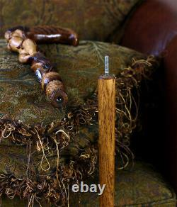 Hard Wood Walking Cane Stick Hand Carved Forest Fairy Girl Fantasy Magic Mystic