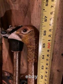 Hen Pheasant Head Hand Carved in Lime wood Country Walking stick on Hazel Shank