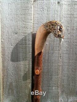 Hen Pheasant carved by hand on hazel shank, walking beating stick