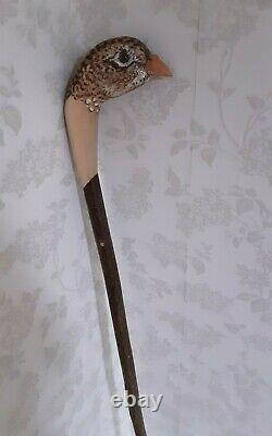 Hen pheasant hand carved Walking stick / dress stick shooting stick